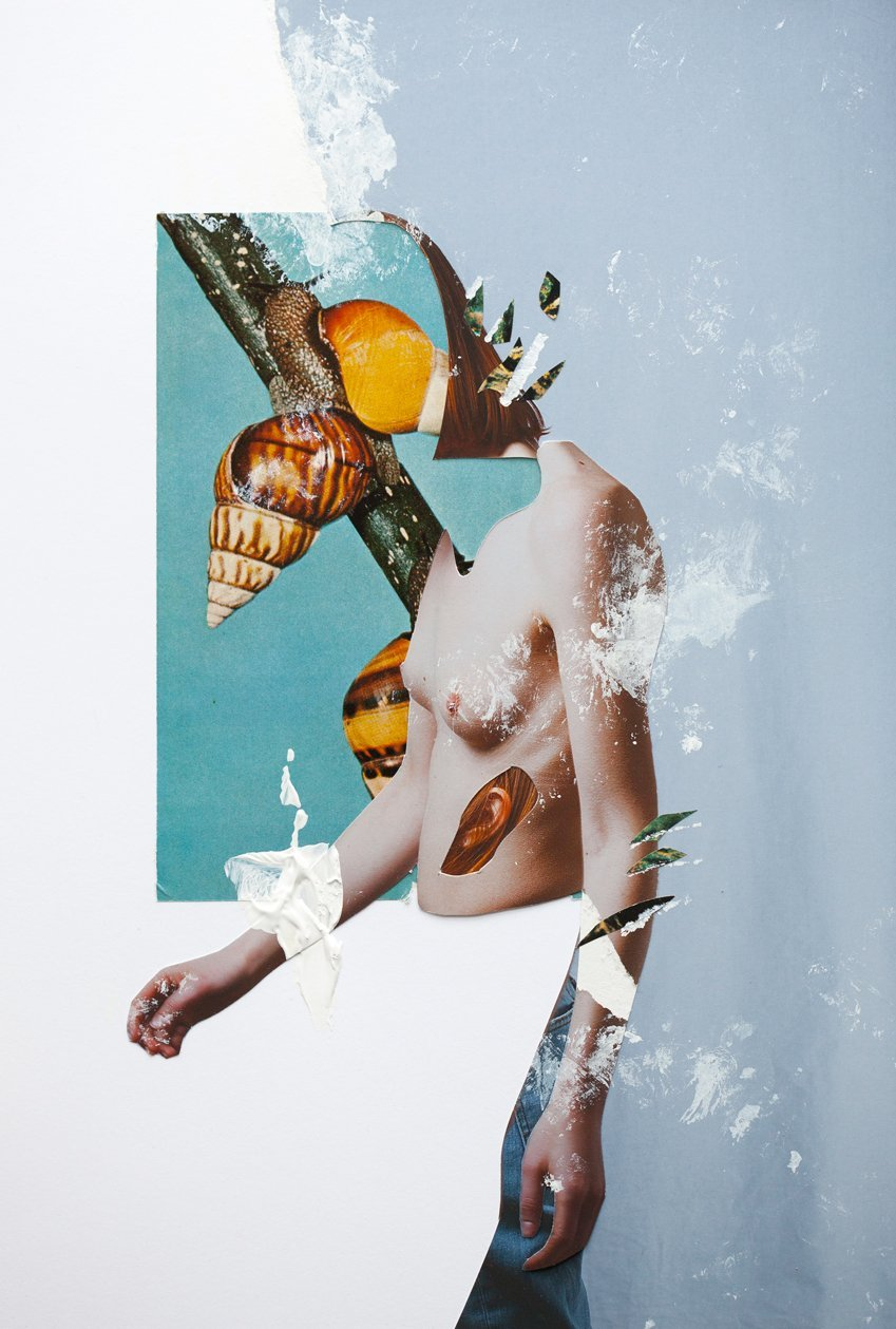 collage mujer desnuda y naturaleza